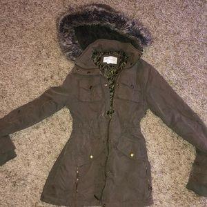 BCBG winter coat with fur hood